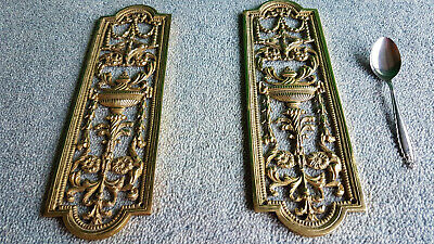 Vintage Push Plates, Solid Brass, Heavy. Nice Filegree Highly Decorated.