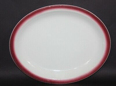 """Homer Laughlin 11""""  Oval Plate Platter Best China U.S.A. White With Maroon"""