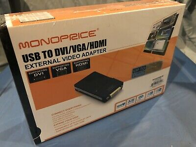 NEW in Box Monoprice USB to DVI/VGA/HDMI External Video Adapter MP-UGA16D1