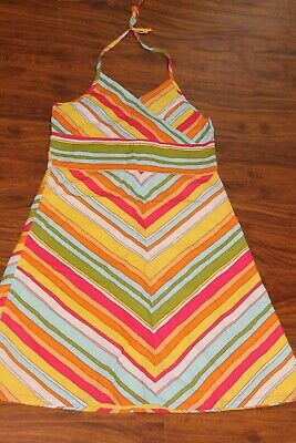 Girls GAP Multi Colored Halter Striped Dress Size L 10