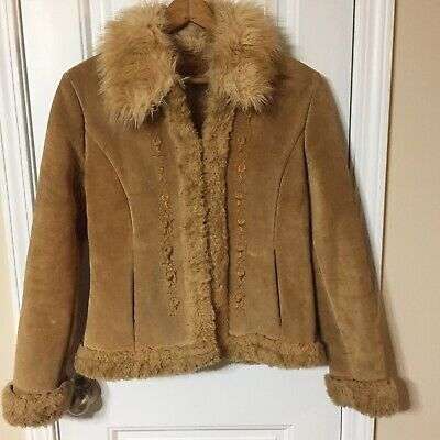 Guess Tan Suede Faux Fur Lined Embroidered Jacket Medium