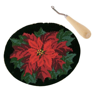 Red Flower Latch Hook Rug Completed Kit for Adults with Wood Crochet Needle