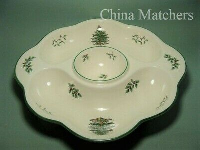 "Spode Christmas Tree 13 1/2"" Large Eared Hors D'oeuvres / Crudite Dish."