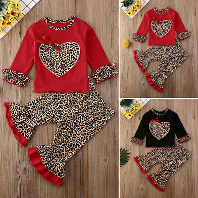 Kid Baby Girl Clothes Valentine's Day Leopard Tops T-shirt+Pants Leggings Outfit