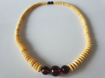 Bernsteinkette Baltic Amber Yelloe-Cognac Necklace Linsen