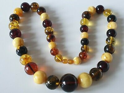 Bernsteinkette Kugeln Baltic Amber Necklace Balls Multicolor
