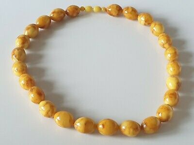 Bernsteinkette Baltic Amber Necklace Oliven Butterscotch Egg Yolk