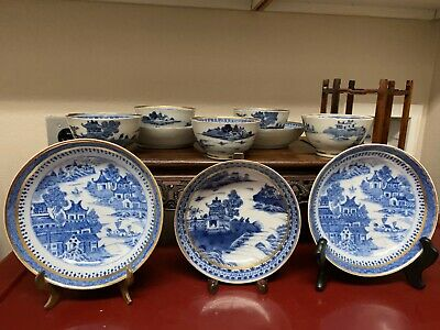 Antique Chinese Qianlong Blue And White Gild Tea Cup & Saucer