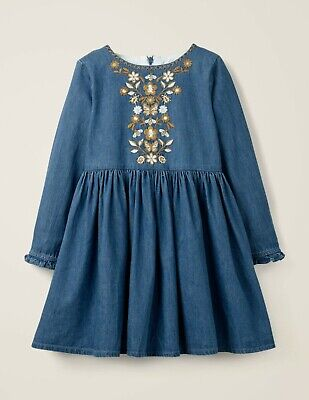 Dress Mini Boden 4-5 Girls BNWT Embroidered Floral Butterfly Chambray Twirl