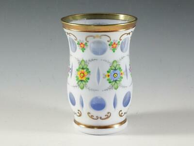 """Beautiful 5"""" BOHEMIAN CZECH Vase -Cased Glass White Cut To Blue Hand Painted"""