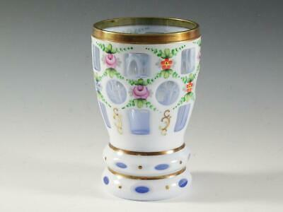 """Beautiful 5 3/4"""" BOHEMIAN CZECH Vase -Cased Glass White Cut To Blue Hand Painted"""