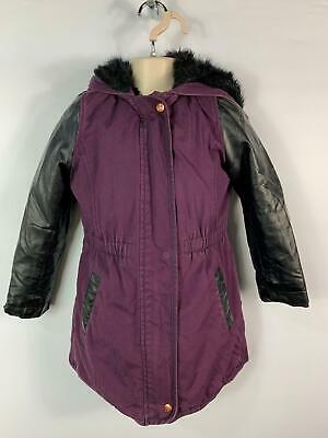 Girls Ted Baker Black&Purple Parka Parker Coat Hooded Jacket Kids Age 8 Years