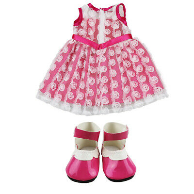 18 Inch Doll Clothes Handmade Lovely Dress Clothes with Shoes Doll Costume FD8