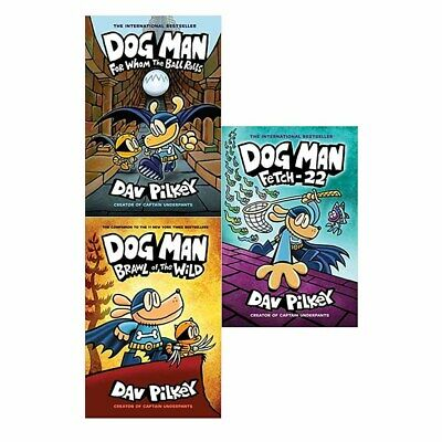 Dav Pilkey Adventures of Dog Man Series 3 Books Collection (For Whom,Brawl,Fetch