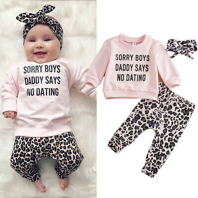 USA Kids Newborn Baby Girls Clothes T-shirt Tops Leopard Pants Outfits Tracksuit