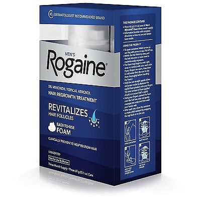 Rogaine Unscented Foam for Men 12 Month Supply US seller Hair Loss Regrowth 2021