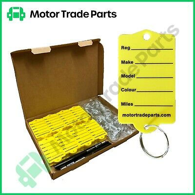 Car key Tags x 50 with Rings & Pen  - New for Motor Traders