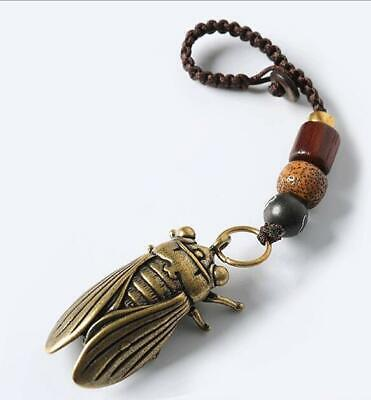 Collection chinese Hand Carved pure brass cicada amulet antique pendant /A 02J