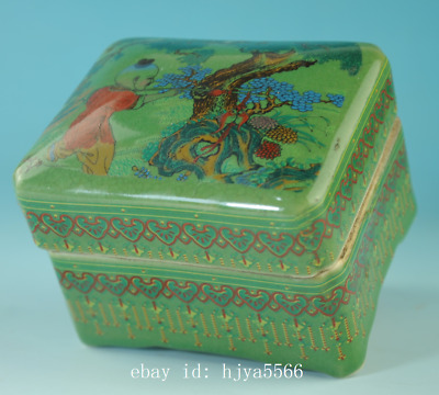 old china green glaze porcelain hand-made child box /qian long mark Cb01J