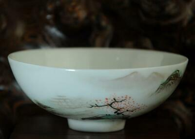 Handwork chinese old porcelain hand painted landscape bowl /yongzheng mark Aa02J