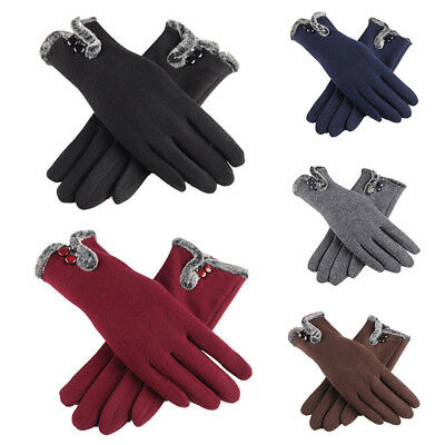 Women Ladies Winter Warm Thick Fleece Lined Thermal Button Touch Screen Gloves