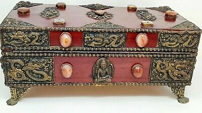 Large Antique Rosewood Asian Chinese Hammered Brass Jade Dragons Jewelry Box