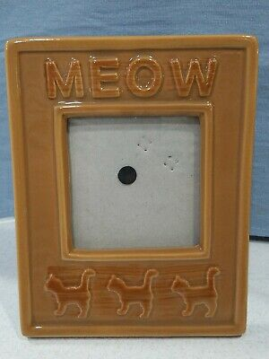 Brown Ceramic Kitty Cat Picture Photo Frame Meow