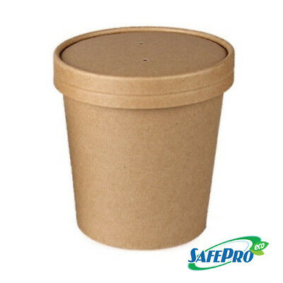 SafePro Eco SB52 16 Oz. Recyclable Kraft Paper Soup Cup with Vented paper Lid Co