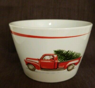 222 FIFTH Christmas Red Truck Tree Set of 4 Ceramic Appetizer Dessert Bowls,New