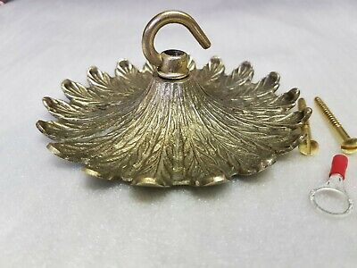 vintage CEILING ROSE 130mm chandelier hook OLD FRENCH Cast brass c1930 strong