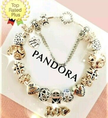Authentic Pandora Charm Bracelet Silver Gold LOVE STORY with European Charms