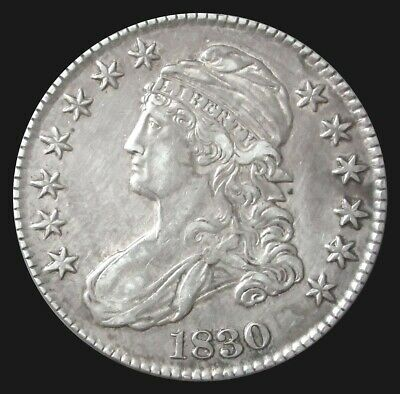 1830 Silver Capped Bust Half Dollar About Uncirculated Coin