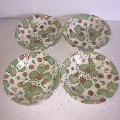 Set Of 4 Royal Stafford England WILDBERRY Cereal Soup Salad Bowls Strawberries