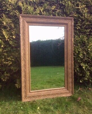 Large Antique Opulent Gold Rococo Style Wall or Leaner Mirror