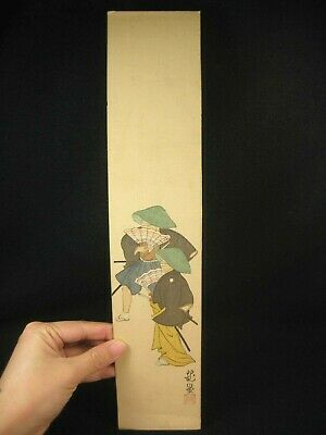 Antique Japanese Signed Paper Tanzaku Hand Painted Samurai