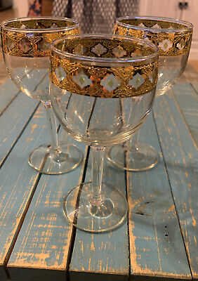 "Old Vintage Valencia by Culver 5-3/4"" Wine Glass Green Gold Filigree Design MCM"