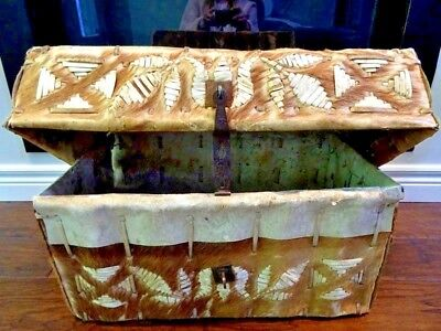 antique missionary DOCUMENT CHEST 19thC SPANISH COLONIAL mule PETACA Skin PERU