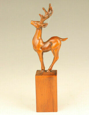 Rare Chinese old boxwood hand carving deer seal statue netsuke table decoration