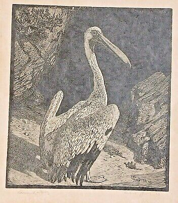 """Lionel Lindsay Wood Engraving """"The Pelican"""""""