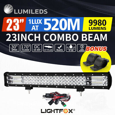 【20%OFF】LightFox 23inch Philips LED Light Bar Spot Flood Offroad+Bullbar
