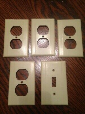 Leviton Vintage Outlet and Switch Cover Plate Lot Ivory Bakelite 2 Rib
