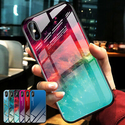For iPhone 11 Pro Max XS XR 8 Plus Case Marble Tempered Glass Hybrid Slim Cover
