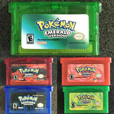 Pokemon Game Cards Emerald/Sapphire/LeafGreen/FireRed/Ruby GBM/GBA/SP/NDS 5PCS
