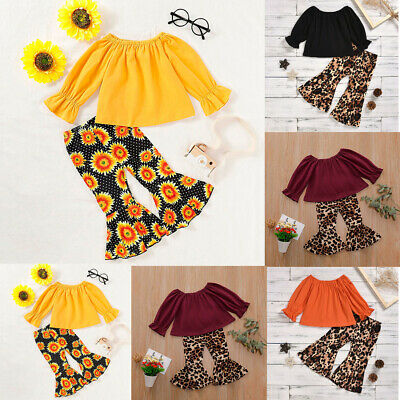 2pc Toddler Baby Girls Solid Tops T-shirt+Leopard Print Flare Pants Outfit Set F