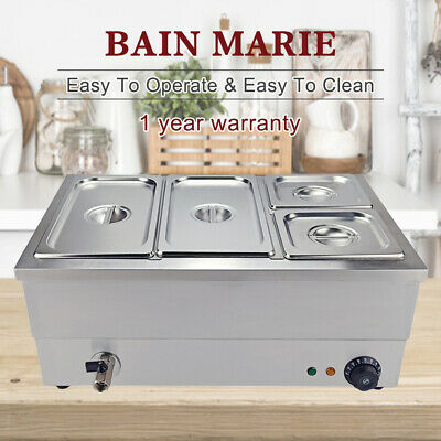 Electric Bain Marie 4 Pan 2x1/3+2x1/6 GN Trays Stainless Steel Hot Food Warmer