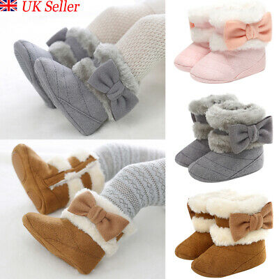 Toddler Baby Girl Snow Boots Bow Winter Warm Soft Sole Fur Lined Crib Pram Shoes