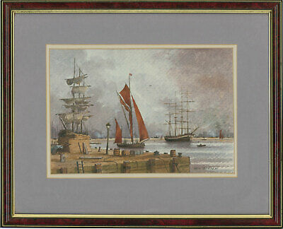 Ken Starke - Framed 20th Century Watercolour, Thames Barges at Surrey Docks