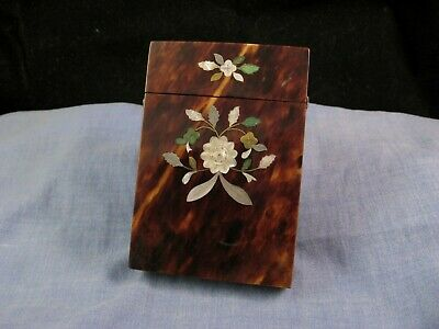 Antique Victorian Silver Mother Of Pearl Pique Calling Business Card Case Box