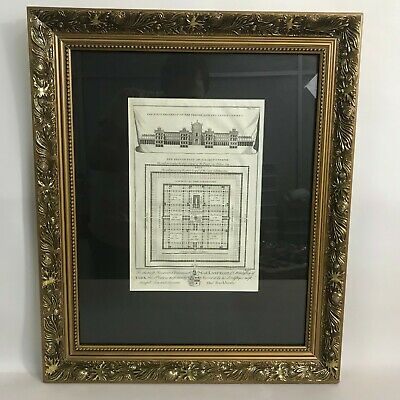 18th ct Engraving King Solomon's Temple - J Mynde Plate  Framed Behind Glass