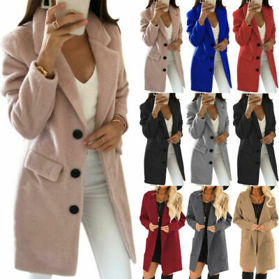 Womens Overcoat Woolen Slim Trench Coat Ladies Winter Long Jacket